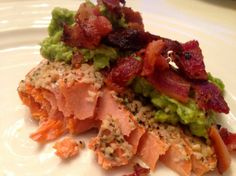Salmon with dill avocado and bacon