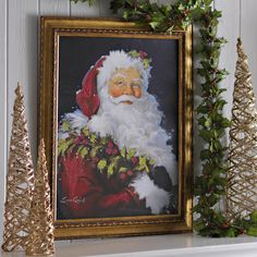 bring santa into your home before the special day with this majestic holly jolly santa framed art print