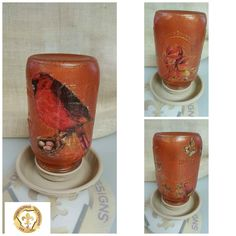 Good evening everyone!  I have just completed a mason jar that is frost painted and decoupaged  to be used as a bird feeder with an autumn theme.  I have also done a video on it so as soon as it's uploaded to youtube I will share it.