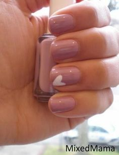 Simple & Pretty - Heart Nail #nail art valentines nails