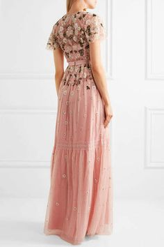 Needle & Thread - Lace-trimmed Embellished Tulle Gown - Pastel pink  Fashion, online, winter, spring, summer, fall, trendy, outfit, work, business, casual, dress, boots, sneakers, shoes, jacket, scarf, love, budget, fancy, fabric, wool, silk, cotton, spandex, comfy, cool, laid back, dressy, work, season, basic, staple, formal, bling, every body type, prom, wedding, bridesmaid, bride, so cute!