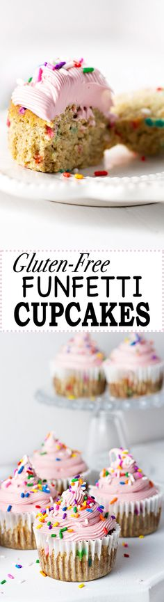 This Gluten-Free Funfetti Cupcakes recipe is made with coconut and buckwheat flour, and is oh so good! Dairy Free Cupcakes, Dairy Free Frosting, Dairy Free Snacks, Gluten Free Sweets, Funfetti Cupcake Recipe, Cupcake Recipes, Dessert Recipes, Best Gluten Free Recipes, Allergy Free Recipes