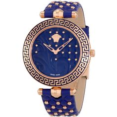 Versace Vanitas Blue Dial Ladies Leather Watch ($495) ❤ liked on Polyvore featuring jewelry, watches, versace jewelry, leather watches, analog wrist watch, leather dress watches and versace jewellery