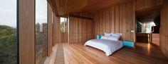 Holz-Haus Australien Fairhaven Beach Schlafzimmer-Holzbeläge raumhohe-Fenster