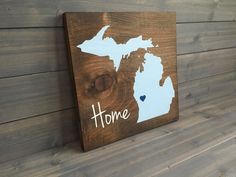 Pick Colors, Michigan Wood Sign, Custom Michigan Sign, Stained and Hand Painted, Personalize, Michigan decor, Wolverines decor