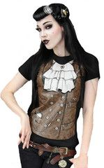 Sky Captain Jenna T-Shirt.Black Steampunk T-Shirt with brown waistcoat and jabot design, Available at www.fizzlecrankemporium.co.uk