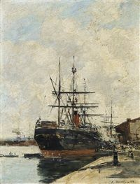 Eugène Boudin - LE HAVRE. CHARGEMENT D'UN CARGO, 1883 Eugene Boudin, Le Havre, Beach Scenes, Old Master, Art History, Original Artwork, Modern Art, Old Things, Paintings