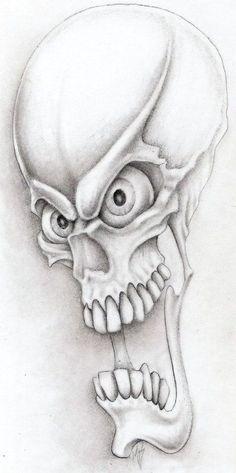 Manga Drawing Patterns screamin demon by markfellows - Dark Art Drawings, Tattoo Design Drawings, Skull Tattoo Design, Skull Design, Tattoo Sketches, Tattoo Designs, Cool Skull Drawings, Evil Skull Tattoo, Skull Tattoos
