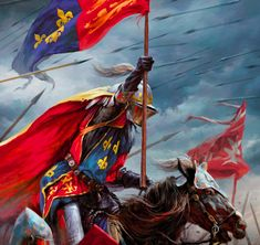 King Henry V of England leading the charge against the French, Hundred Years War King Henry V, Crusader Knight, Knight Art, Wars Of The Roses, Great King, Fantasy Setting, Knights Templar, Dark Ages, Military Art