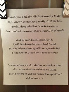 Love this!  When I am grow weary of doing laundry........again......I will remember!