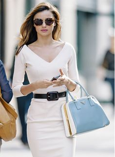 Powder Blue Prada with White Dress & Black Belt