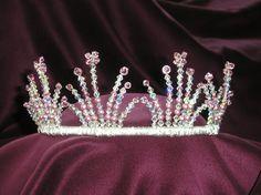 tiara town | Coronet style bridal tiara of Swarovski crystal beads and glass pearls ...