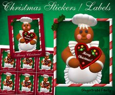 """Gingerbread Girl """"Gingerbread Heart"""" Stickers and Labels - Digital Download by DinkyPrints"""