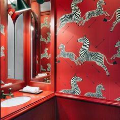 red Bathroom Decor Wallpaper inspiration for an accent wall or make a statement and cover an entire room. Red Bathroom Decor, Bathroom Interior Design, Small Bathroom, Bathroom Ideas, Bathrooms, Bedroom Decor, Beata Heuman, Inspirational Wallpapers, Bathroom Wallpaper