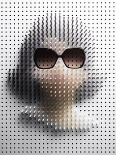 Pin Art portraits by Philip Karlberg, . Karlberg takes hundreds of painted pins and arranges them to portray famous icons, and uses the eyewear to seal the deal. This takes a bit of time... Jackie O, Johnny Depp, Lady Gaga, Steve McQueen and others. Just another unique way to approach icons, and capturing that mass-recognized figure