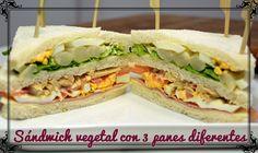 Sándwich vegetal, con 3 panes diferentes