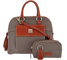 Dooney & Bourke Pebble Leather Aubrey Satchel with Accessories