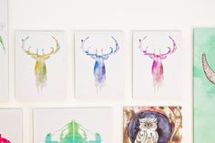 Watercolor Stag Canvas Art Assortment. Perfect displayed together or by themselves, we love these colorful deer. #earthbound #decor #artwork