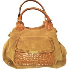 Cole Haan tote Square tote; hazelnut suede with crocodile print material details; gold chains on sides of purse; slight wear and tear on bottom corners of purse; includes red Cole Haan dust bag Cole Haan Bags Totes