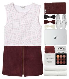 """Burgundy and White."" by makfashions on Polyvore featuring Monki, Linum Home Textiles, Byredo, MAC Cosmetics, Forever 21, Burberry, adidas and Maison Margiela"