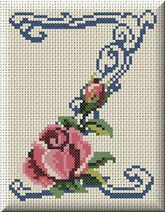 Artes e bordados da Sol: Monograma de Rosas Cross Stitch Alphabet Patterns, Cross Stitch Letters, Mini Cross Stitch, Cross Stitch Flowers, Cross Stitch Charts, Cross Stitch Designs, Stitch Patterns, Cross Stitching, Cross Stitch Embroidery