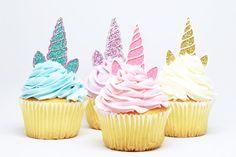 Unicorn Horn + Ears Cupcake Toppers - Glitter - First Birthday Decor. Unicorn Party Decor. Birthday Party. Bachelorette Party. Unicorn Decor