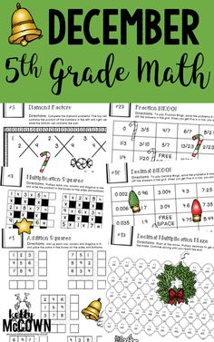 5th Grade December Math Packet. No Prep, Print & Go! Math Puzzles, Math Activities, and more!! Holiday and Christmas Math activities included.