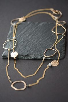 Long Organic Rough Diamond Necklace by LexLuxe on Etsy