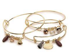 Women Tassel Charm Bracelet Set - 3 Pack -Burgundy/Gold Metallic