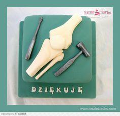 Kość, kolano, staw kolanowy, ortopedia, tort dla ortopedy, tort dla lekarza, podziękowanie, Tarnów