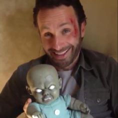 The Walking Dead's Andrew Lincoln got a hold of one of Spirit's very own Zombie Babies! Watch out, he might be a walker Andrew.. Take a chance to find out yourself for only $22.99 http://www.spirithalloween.com/product/pa-wiggler-zombie-baby/