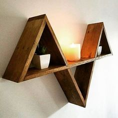 We make Triangle shelves in any size & colour. by recyclemecreations Recycled Furniture, Pallet Furniture, Diy Wall Decor, Entryway Decor, Home Decor, Diy House Projects, Pallet Projects, Recycling Projects, Pallet Ideas