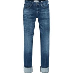 Supreme - Indigo Bliss Jeans ($155) ❤ liked on Polyvore featuring jeans, rolled up jeans, straight leg jeans, rolled jeans, indigo blue jeans and indigo jeans