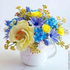"""Купить Цветочная композиция """"Дашкин букетик"""" - жёлтый, мак, букет, цветы, молочник, роза, гортензия"""