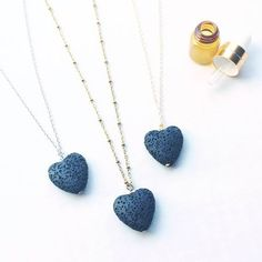 LAVA rock jewelry - Essential oil diffuser necklace - lava heart aromatherapy necklace