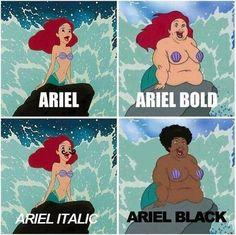 Ariel, ariel bold, ariel italic, ariel black ;)