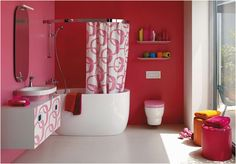 I actually really like this color but I'd have to mute it with a white border! Cute Pink Bathroom Design From Laufen Cute Pink Bathroom Decor Pink Bathroom Interior, Bathroom Red, Bathroom Colors, Bathroom Furniture, Small Bathroom, Bathroom Ideas, Colorful Bathroom, Design Bathroom, Feminine Bathroom