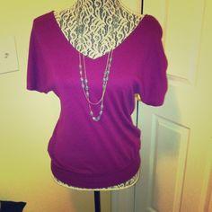 Magenta top Magenta v-neck short sleeved shirt Express Tops