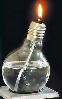 Micro oil lamps from old light bulbs: Just don't ask me how to drill out the bottom.
