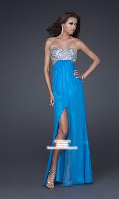 A-line Strapless Chiffon Prom Dresses #USALF084