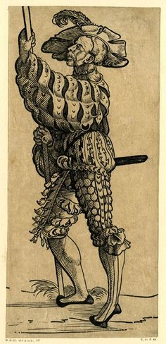 A Landsknecht holding a pole in both hands; WL figure turned to left. From a series of fifty woodcuts.  c.1525-30 Woodcut