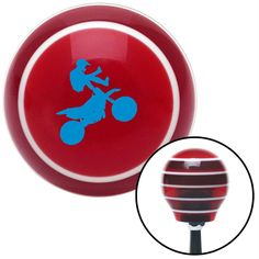 Blue Motocross Rider Red Stripe Shift Knob with M16 x 15 Insert