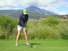 Big Sky Golf Course with Lone Peak in the background.  Big Sky, Montana