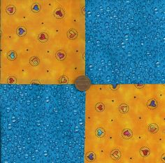 Hearts of a different color Blue 4 inch Fabric Quilt Craft Squares gd3…