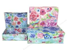 "Punch Studio Nesting Boxes come in graduated sizes and nest inside each other. All boxes have thick walls creating an extremely sturdy and durable decorative box. They are great to use as a set or divided them up and use individually. Large Painterly Rose Set/3- Set contains 3 boxes with interior and exterior designs of watercolor inspired flowers, butterflies and birds. Each box has a magnetic flip top. Measures approximately 17""x 5""x 11.75"", 14.5""x 4.25&"