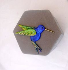Hummingbird pin made of Friendly Plastic by LadyBugHolmes on Etsy, $10.00