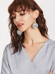 Shop Silver Disco Ball Drop Earring online. SheIn offers Silver Disco Ball Drop Earring & more to fit your fashionable needs.