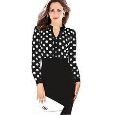 Long Sleeve Elegant Party Polka Dot Women Fashion
