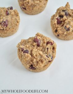 Almond Butter Cranberry Muffins. The perfect, healthy breakfast on the go. Very easy to make in under 20 minutes.