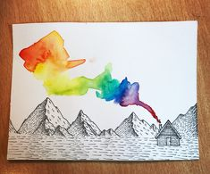 Messing around with watercolour . #linework #dotwork #watercolor #mountains